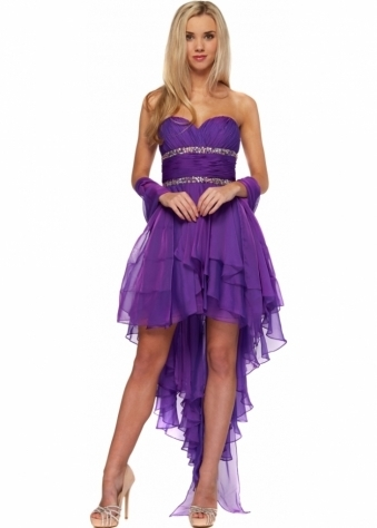 Sara Dress Magenta Chiffon Hi Low Jewel Embellished
