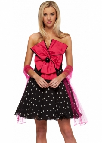 Forever Unique Dress Dottie Bow Embellished Black & Fuchsia Polka Dot Prom Dress