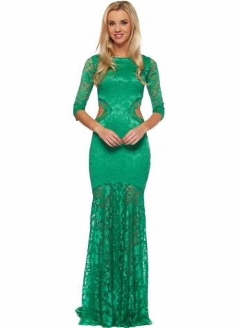 Kevan Jon Green Cut Out Lace Ball Dress