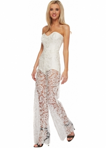 Guipure Ivory Lace Strapless Jumpsuit