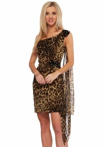 Forever Unique Dress One Shoulder Animal Print Embellished Earlene Dress