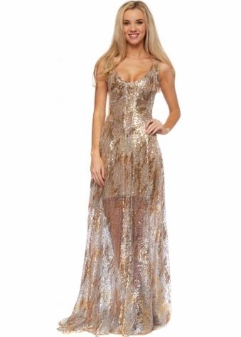 Lisa Jayne Dann Milan Dress Gold Sequin Floor Length Evening Dress