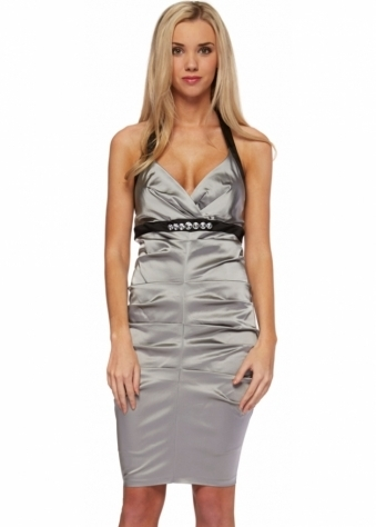 Pia Michi Silver Grey Stretch Pleated Satin Sexy Fit Dress
