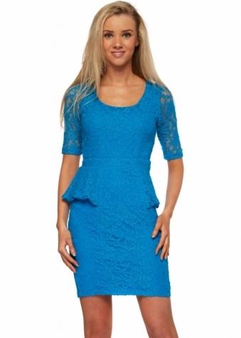 Serina Sophia Stella Regal Blue Lace Peplum Dress