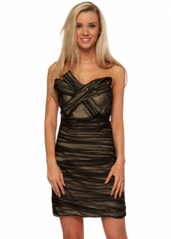Forever Unique Black Ruched Mesh & Bow Mini Dress