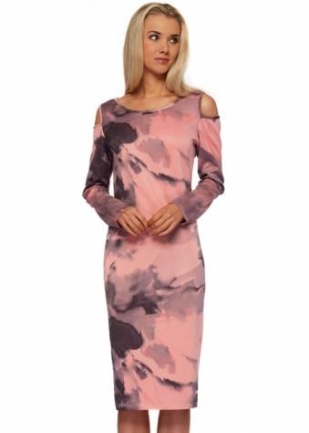 A Postcard From Brighton Chloe Cut Out Shoulder Printed Scuba Midi Dress In Copper