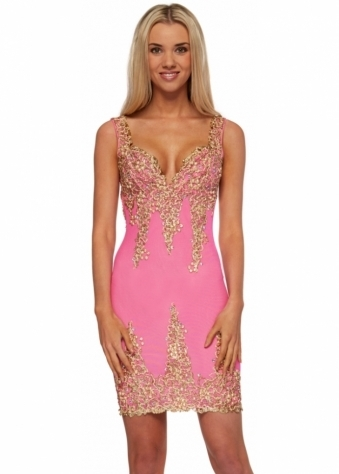 Holt Arianna Dress In Hot Pink With Gold Painted Detail