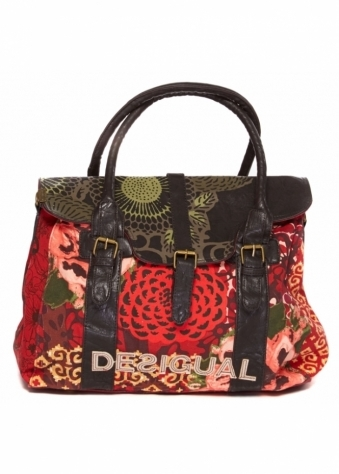 Desigual Oversized Top Handle Tote Bag In Red Print Canvas