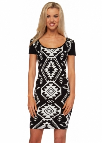 Knitted Monochrome Mini Dress