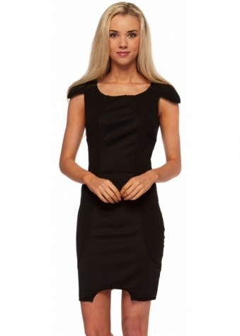Black Panelled Body Con Mini Dress With Cut Out Hemline