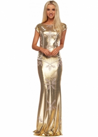 Shefa Dress In Metallic Gold With Platinum Paint