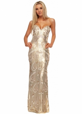 Gold Metallic Painted Bustier Evening Dress