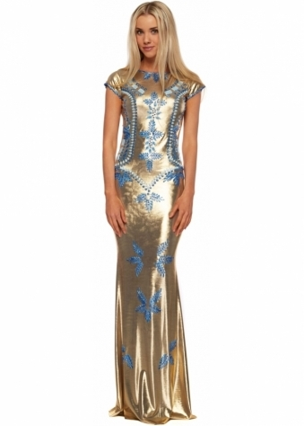 Shefa Dress In Metallic Gold Gown With Blue Painted Detail