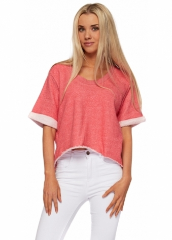 Gin Raspberry Melange Cropped Cotton Sweater