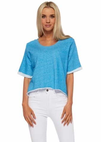 Liberty Blue Melange Cropped Cotton Gin Sweater