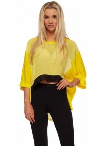 Reverse Neon Yellow Croped Top With Black Hem