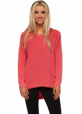 Amira Sweater In Raspberry Pink Cotton