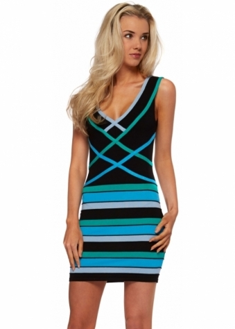 Goddess London Fine Stretch Knit Blue Striped Bandage Style Dress
