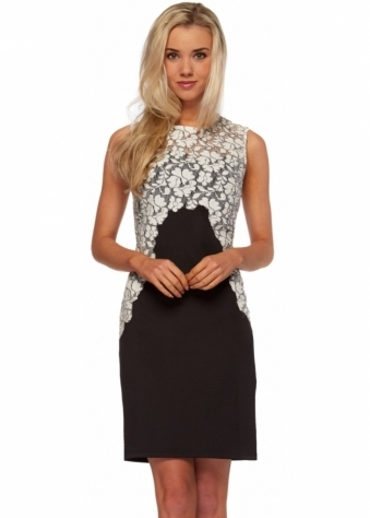 Black Midi Dress With Lace Floral Detail