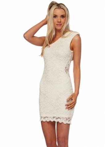 AX Paris Ivory Lace One Shoulder Mini Dress