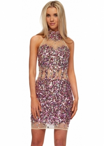 Sparkling Pink Crystal Mesh Party Dress