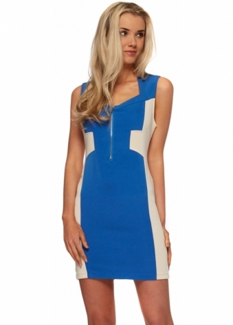 Blue Mini Dress With Nude Mesh Contrast