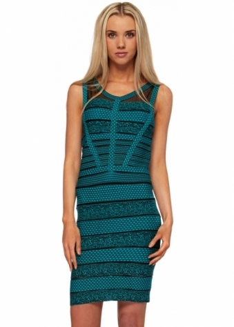 Patterned Green Bandage Mesh Inserts Body Con Dress