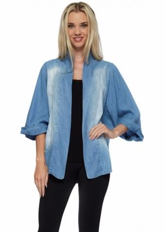 Pinka Drape Front Denim Blue Silky Cotton Short Jacket