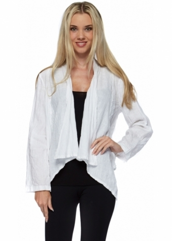 Pinka White Linen Waterfall Front Buckle Back Short Jacket