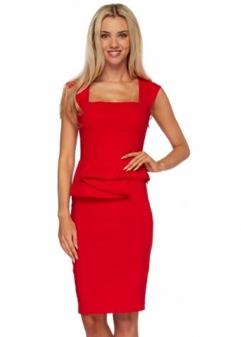 Goddess London Red Structured Peplum Sleeveless Pencil Dress