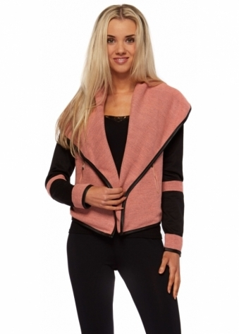 L'Olive Verte Shawl Collar Zip Pocket Jacket In Black & Pink