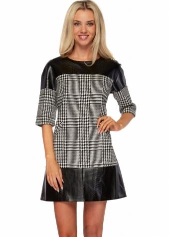 Monochrome Check Print Faux Snakeskin Shift Dress