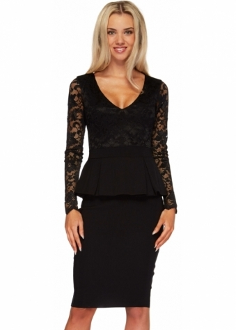 Goddess London Black Pencil Dress With Peplum & Lace Bodice