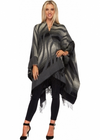Black & Grey Aztec Stripe Blanket Cape