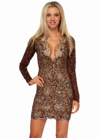 Holt Eli Brown Painted Lace Long Sleeved Dress