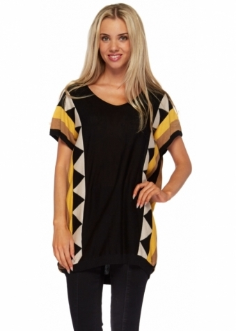 Stella Morgan Black Oversized Jumper With Yellow Aztec Trim