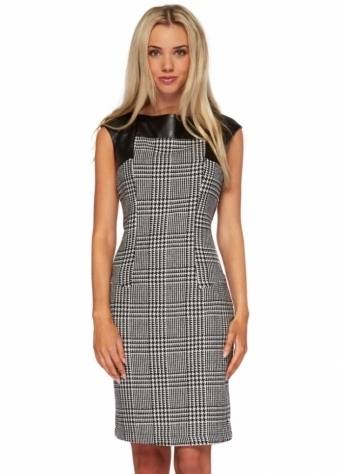 Dogtooth Check Monochrome Leather Panel Shift Dress