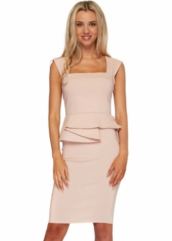 Nude Structured Peplum Sleeveless Pencil Dress