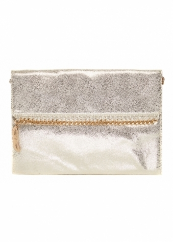 Pale Gold Envelope Clutch Bag With Gold Chain