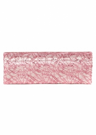 Designer Desirables Metallic Pink Satin Evening Clutch Bag With Sequin Cobweb Lace