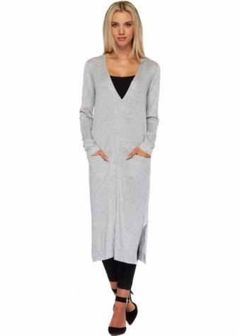 Designer Desirables Grey Soft Knit Button Front Long Cardigan