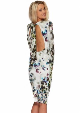 Rebecca Rhoades Rita Dress Backless In Grey Poppy Print