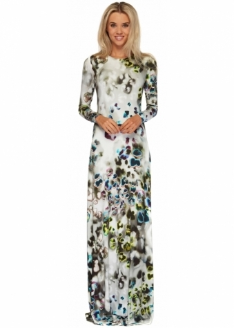 Rebecca Rhoades Rhianna Dress Long Sleeved Maxi With Open Tie Back In Grey Poppy Print