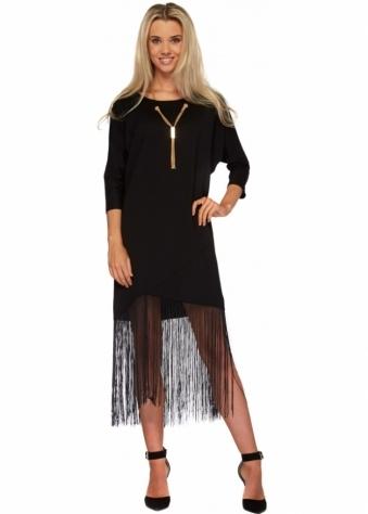 Designer Desirables Black Tassel Dress With Gold Necklace Detail