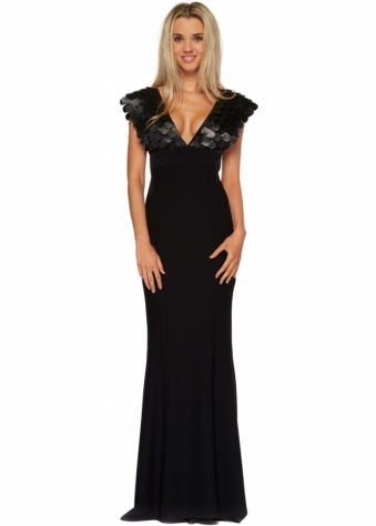 Tia Black Evening Dress With Leather Petal Bodice