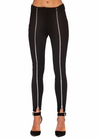 Ankle Grazer Black Jeggings With Silver Zip Fronts