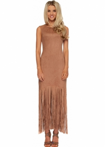 French Boutique Tan Suedette Tassel Hem Dress