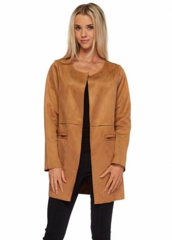 Designer Desirables Tan Suede Finish Box Style Short Coat