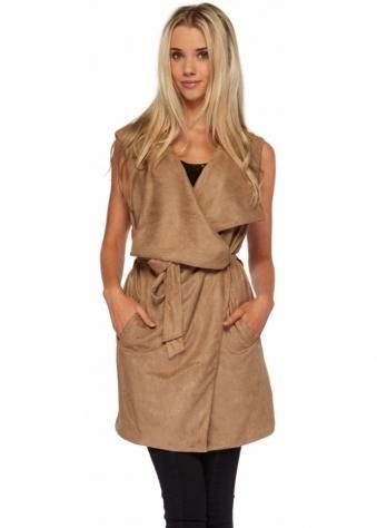 Designer Desirables Camel Tie Belt Suede Gilet With Oversized Lapels