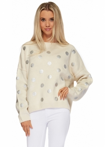Cream Oversized Chunky Knit Sweater With Silver Polka Dots